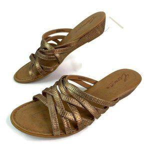 Crown By Born Bronze Slip On Open Toe Wedge Sandal